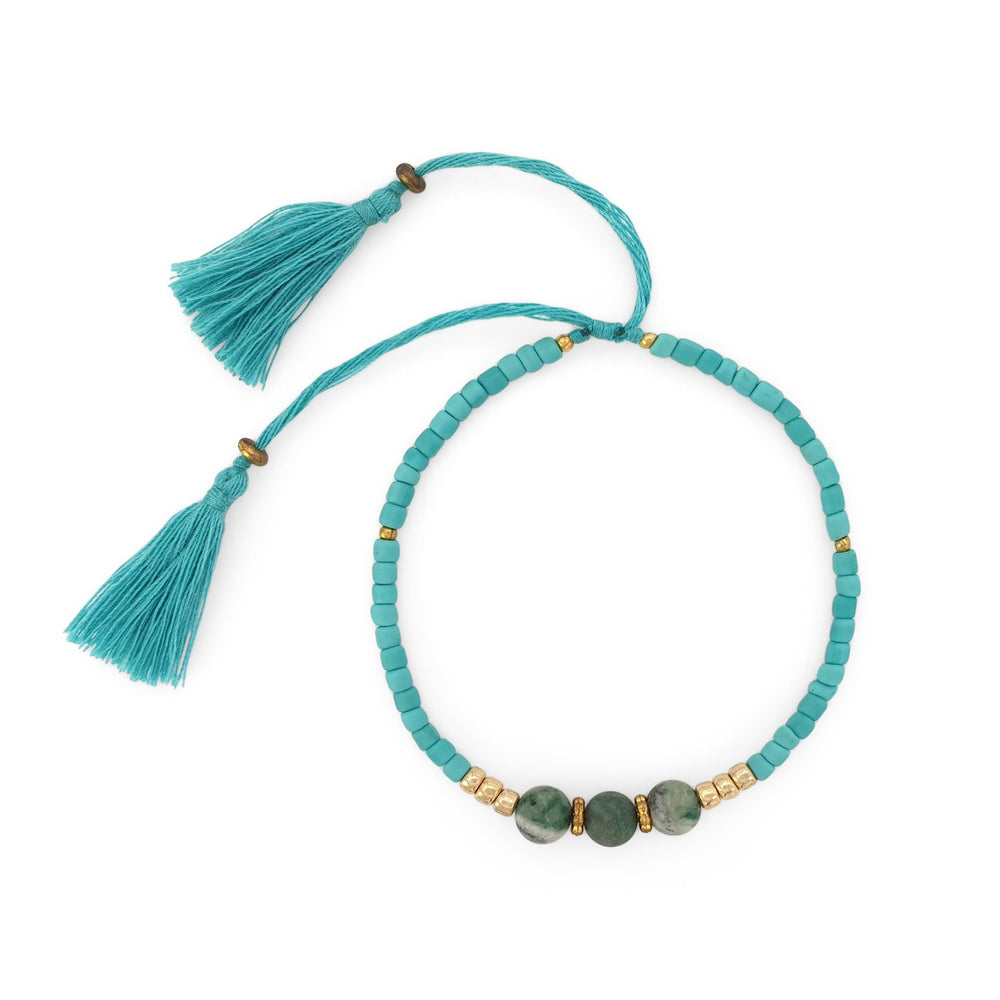 Load image into Gallery viewer, Lucky gemstone bracelet turquoise tassel front view