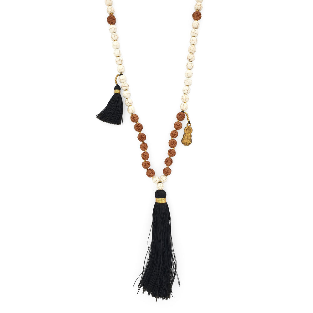Load image into Gallery viewer, Handmade Buddha rudraksha and howlite mala necklace with black tassel