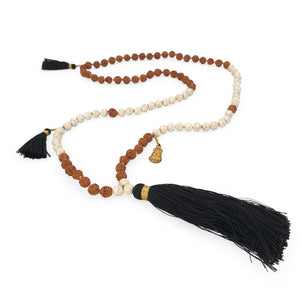 Load image into Gallery viewer, Handmade Buddha rudraksha and howlite mala necklace with black tassel angle
