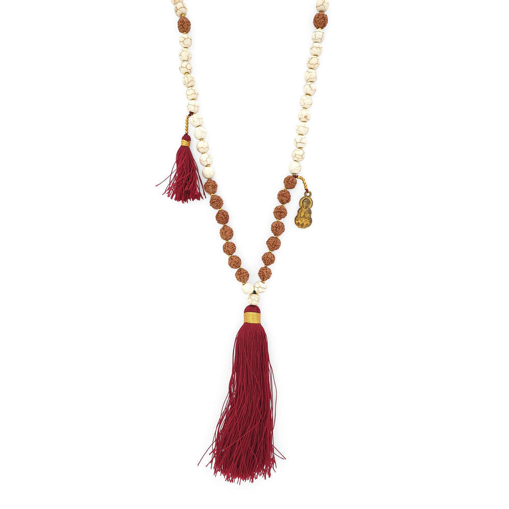 Load image into Gallery viewer, Handmade Buddha rudraksha and howlite mala necklace with maroon tassel