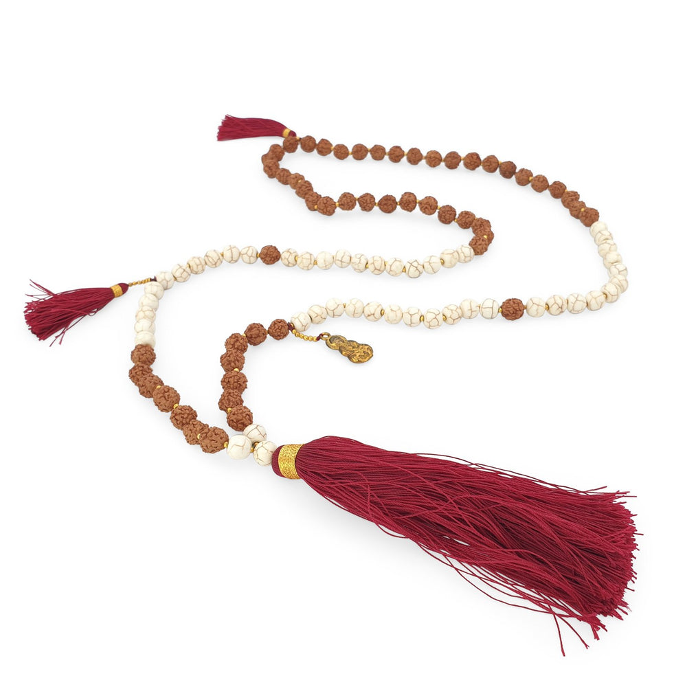 Load image into Gallery viewer, Handmade Buddha rudraksha and howlite mala necklace with maroon tassel angle