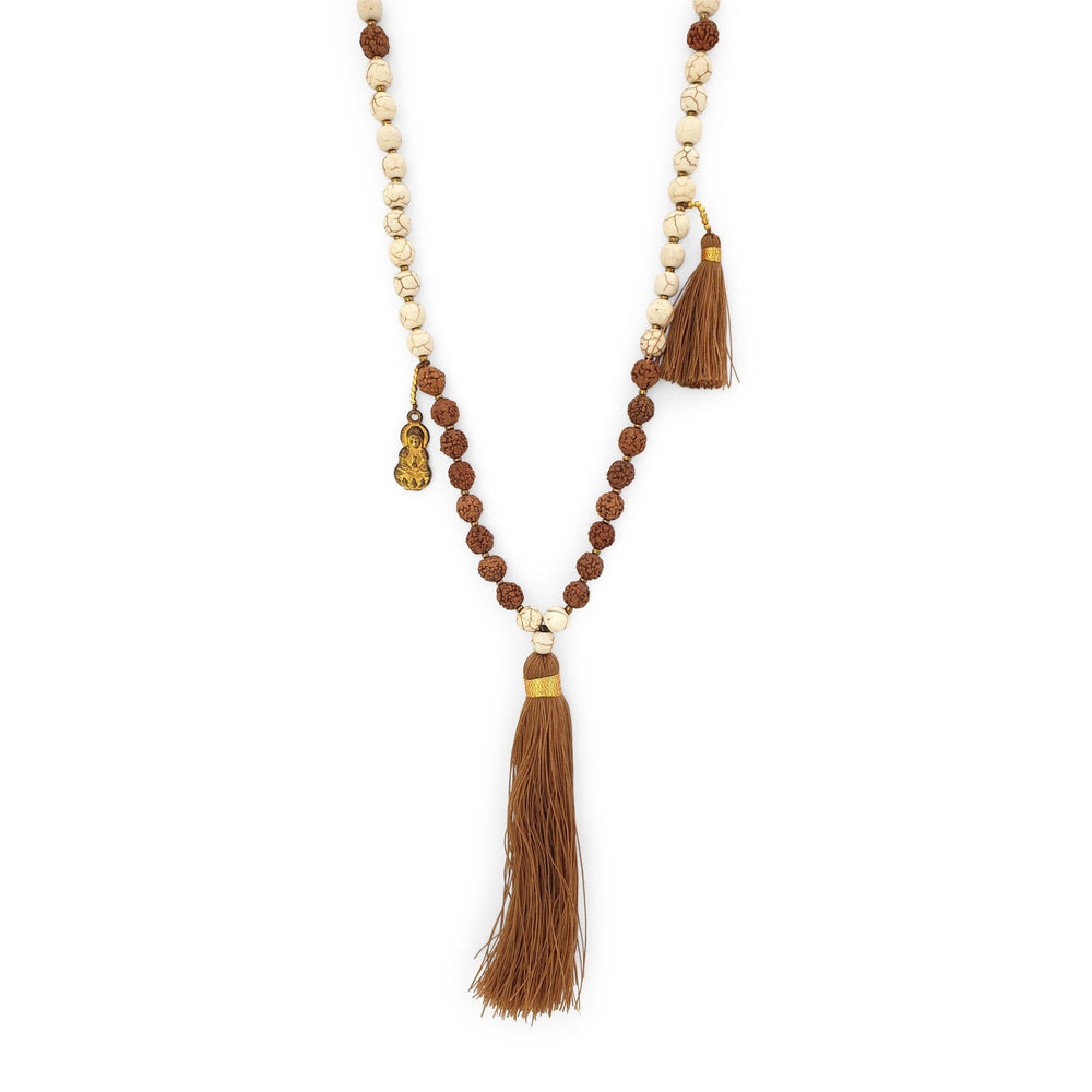 Load image into Gallery viewer, Handmade Buddha rudraksha and howlite mala necklace with brown tassel