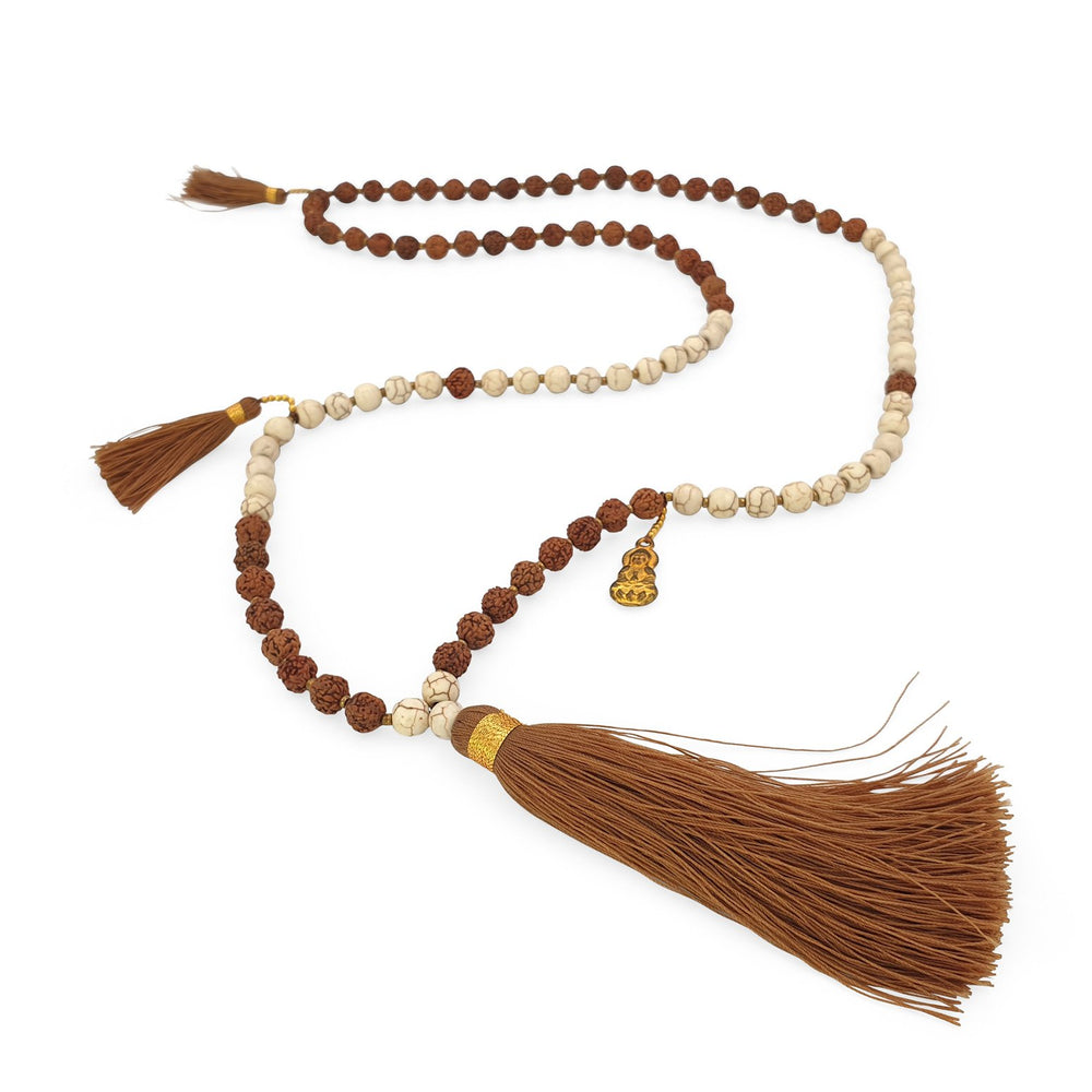 Load image into Gallery viewer, Handmade Buddha rudraksha and howlite mala necklace with brown tassel angle