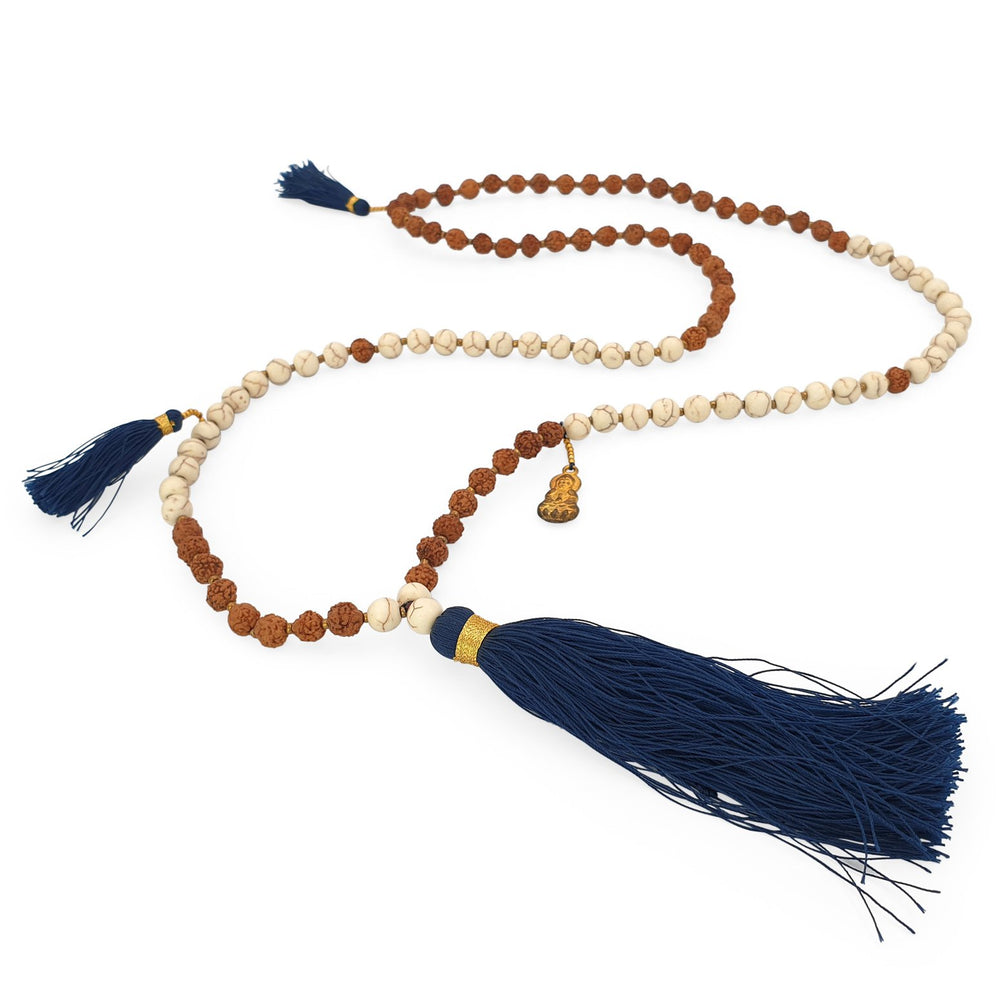 Load image into Gallery viewer, Handmade Buddha rudraksha and howlite mala necklace with navy tassel angle