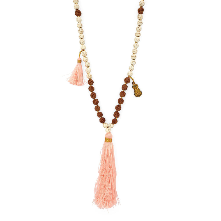 Handmade Buddha rudraksha and howlite mala necklace with pink tassel