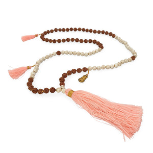Load image into Gallery viewer, Handmade Buddha rudraksha and howlite mala necklace with pink tassel angle