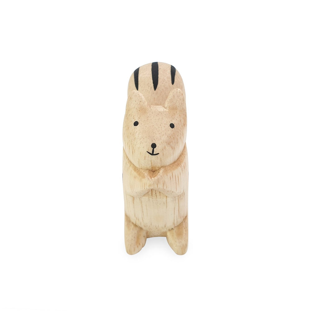 Load image into Gallery viewer, Mini handmade wooden toy animal squirrel front view