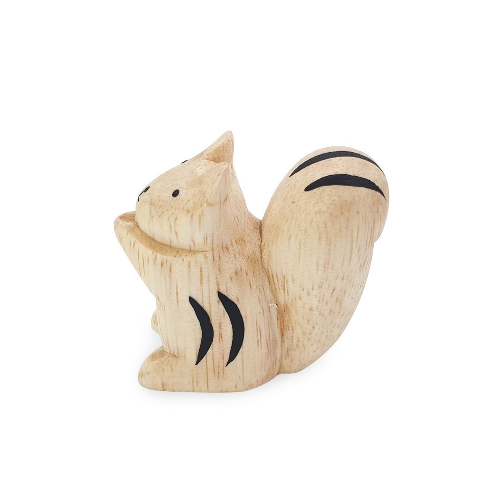 Load image into Gallery viewer, Mini handmade wooden toy animal squirrel side view