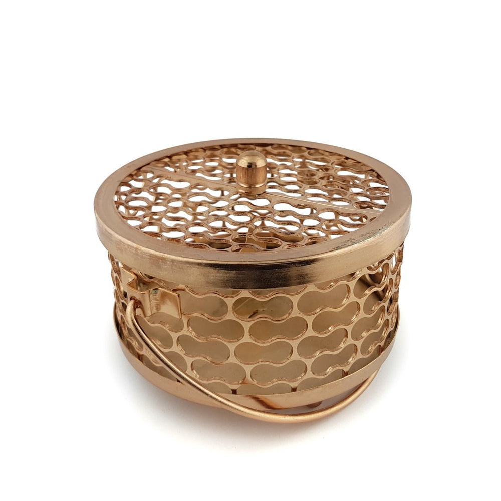 Load image into Gallery viewer, Mosquito Coil Pot Brass Rose Gold front