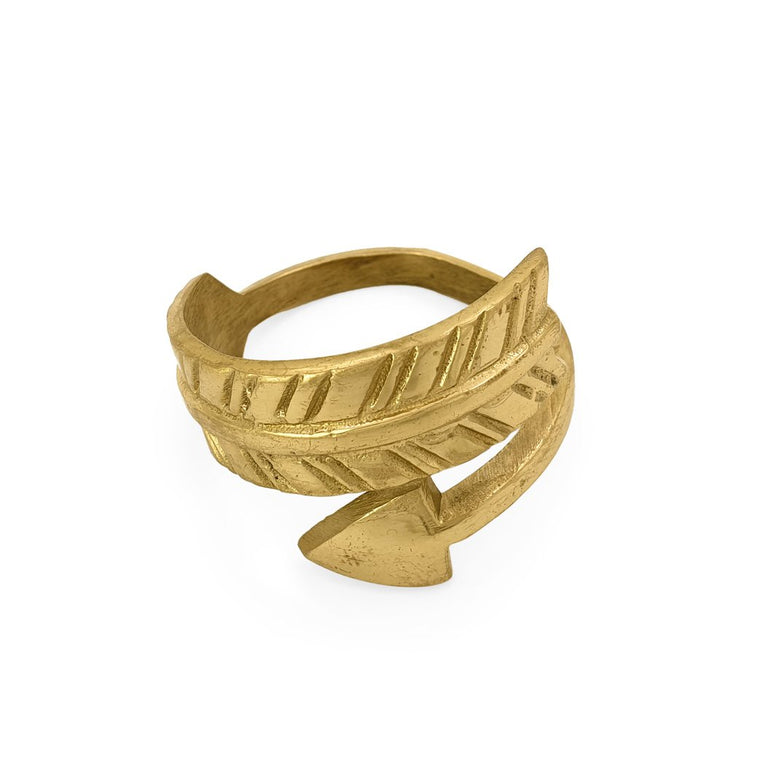 Handmade brass napkin ring arrow front view