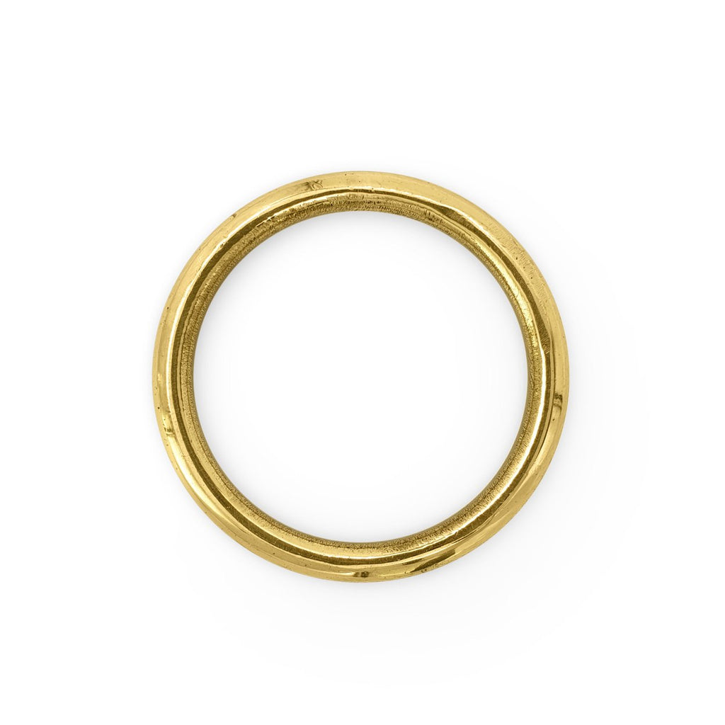 Handmade brass napkin ring circle top view