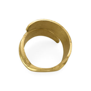 Load image into Gallery viewer, Handmade brass napkin ring feather top view