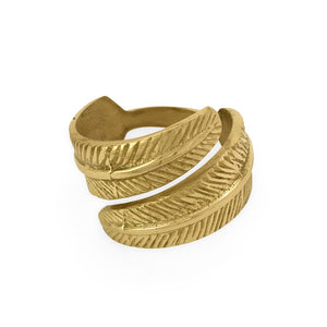 Load image into Gallery viewer, Handmade brass napkin ring feather front view 1