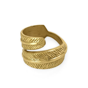 Load image into Gallery viewer, Handmade brass napkin ring feather side view