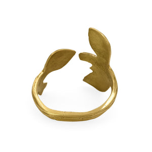 Load image into Gallery viewer, Handmade brass napkin ring leaf back view