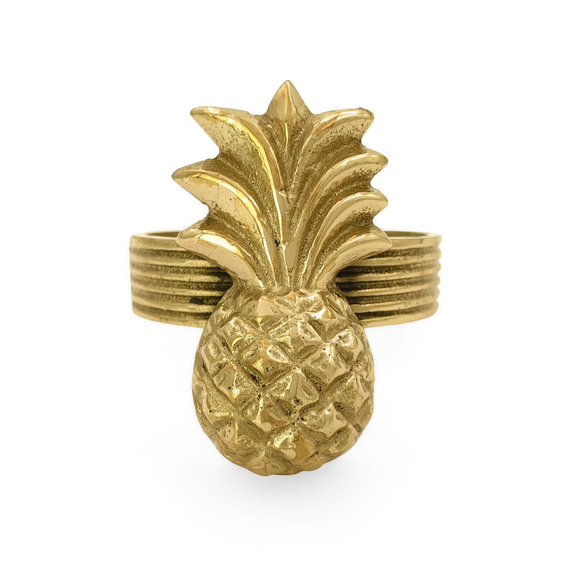 Handmade brass napkin ring pineapple front view