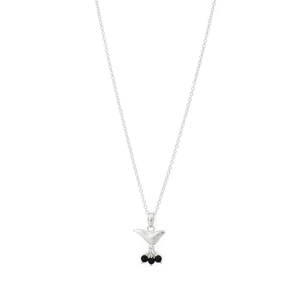 Load image into Gallery viewer, Brass bird charm necklace black onyx silver plated