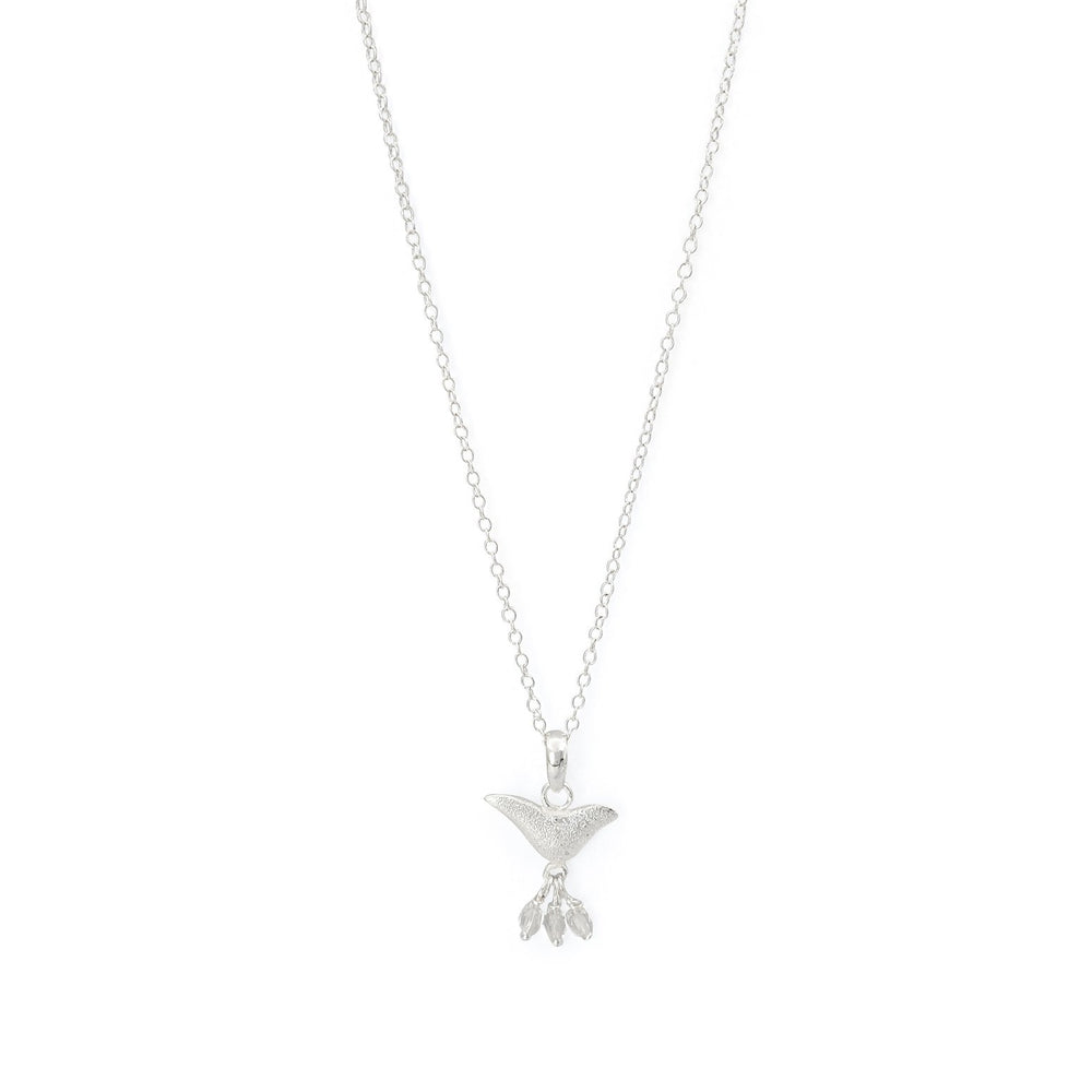 Load image into Gallery viewer, Brass bird charm necklace white jade silver plated
