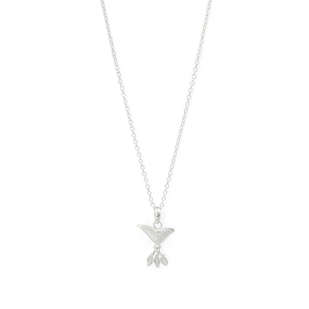 Brass bird charm necklace white jade silver plated