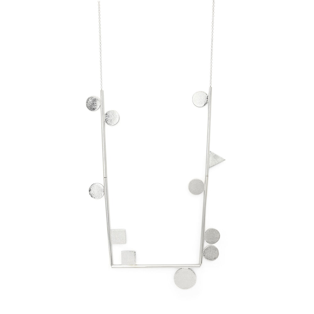 Load image into Gallery viewer, Handmade brass minimalist geometric necklace silver plated