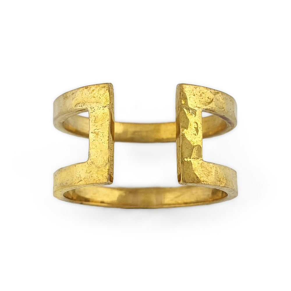 Ring brass boho open rectangle hammered gold front