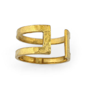 Load image into Gallery viewer, Ring brass boho open rectangle hammered gold side view