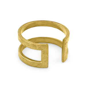 Load image into Gallery viewer, Ring brass boho open rectangle hammered gold angle view