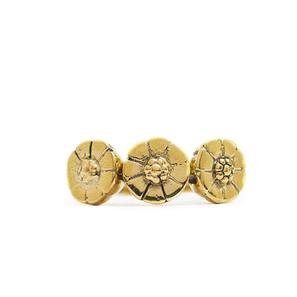 Ring Bunga Flower Gold front