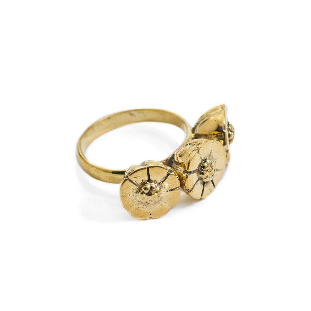 Ring Bunga Flower Gold