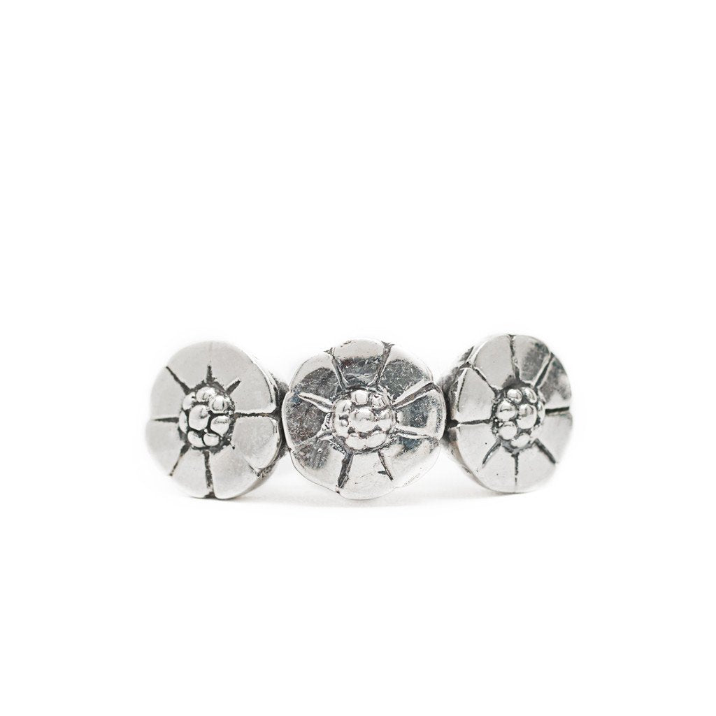 Ring Bunga Flower Silver Front