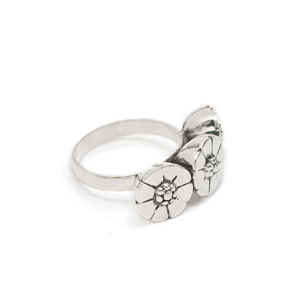 Ring Bunga Flower Silver