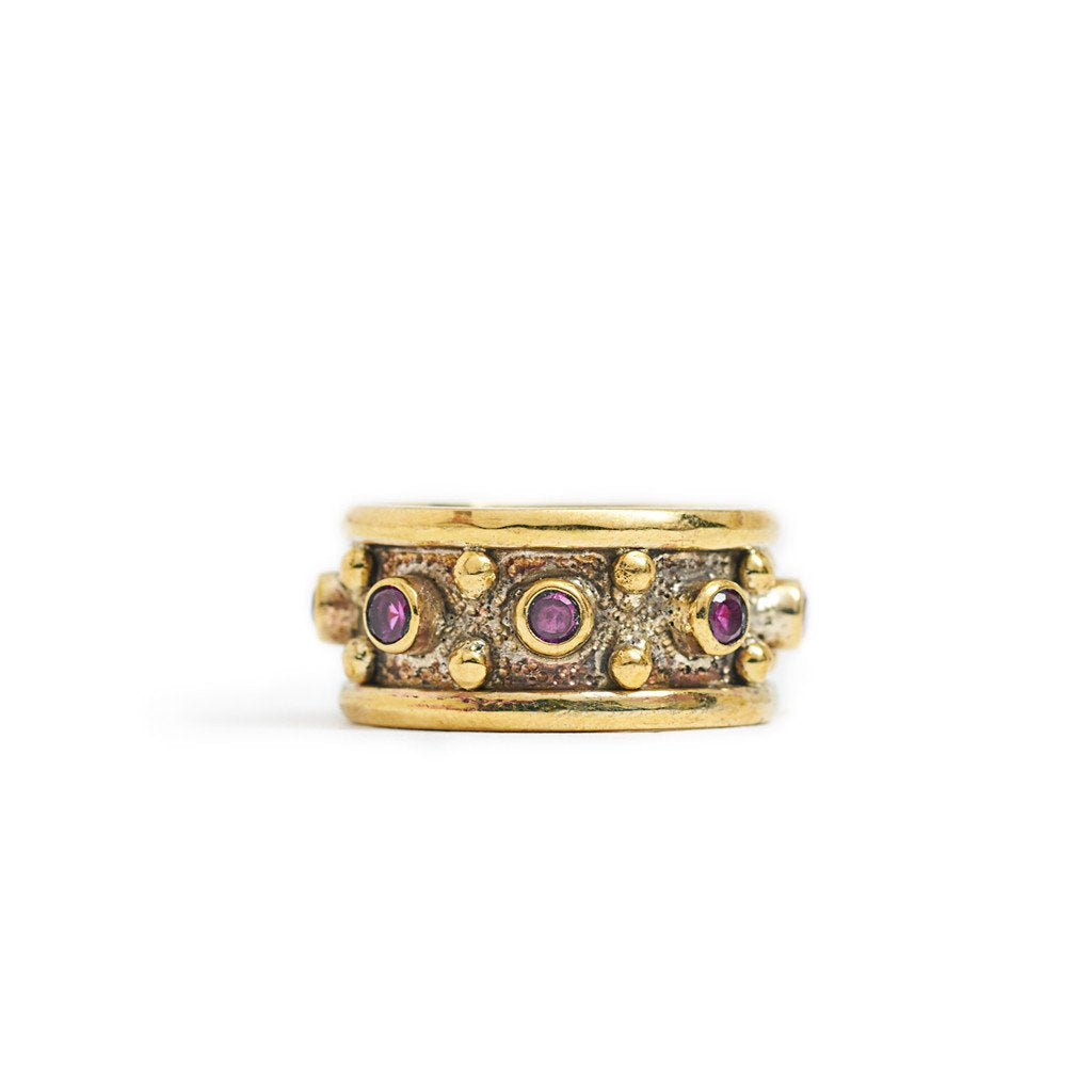 Brass Boho Ring Dot Purple Zircon