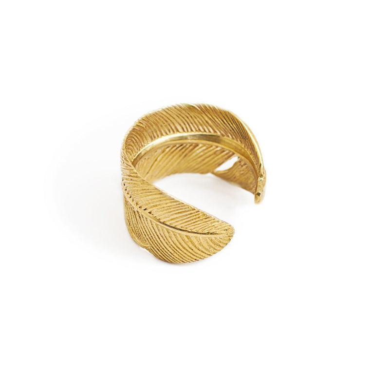 Ring Feather Antique Gold