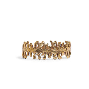 Load image into Gallery viewer, Ring Fern Hoop Gold Front