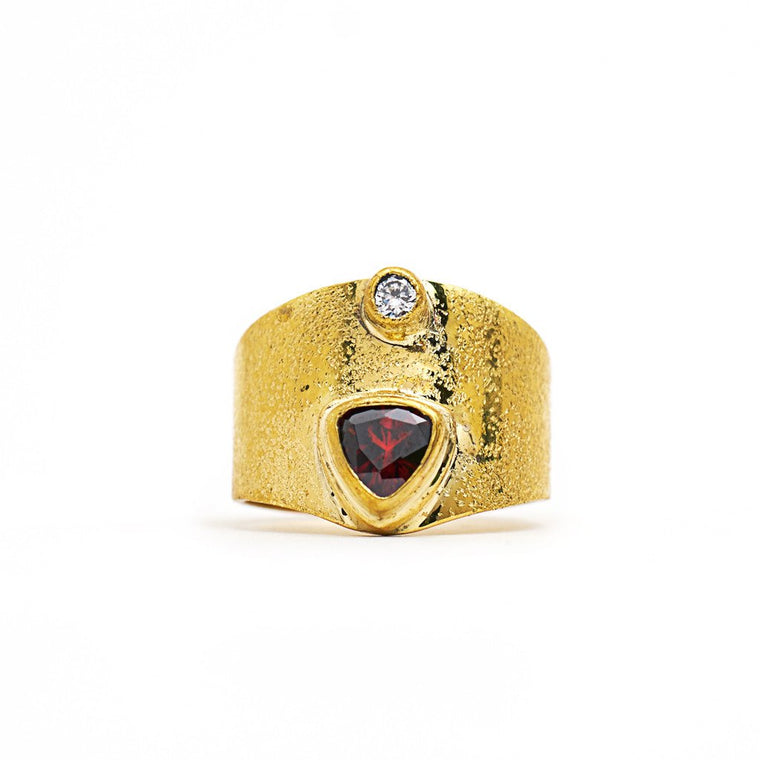 Ring from solid brass Triangle with zircon Gold Front