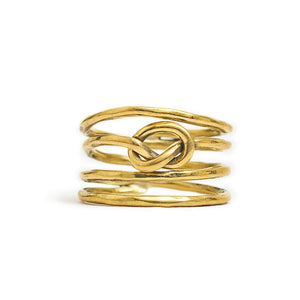 Load image into Gallery viewer, Ring Knot 4 Line Front Gold