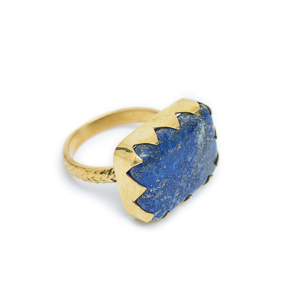 Load image into Gallery viewer, Ring Lapis Lazuli Triangle