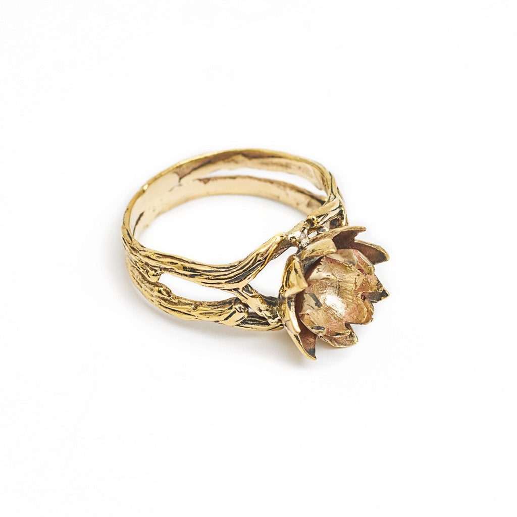 Ring Lotus Flower Gold