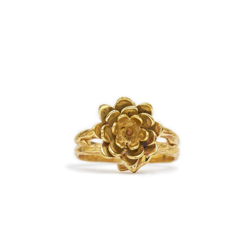 Ring Lotus Flower Dot Gold Front