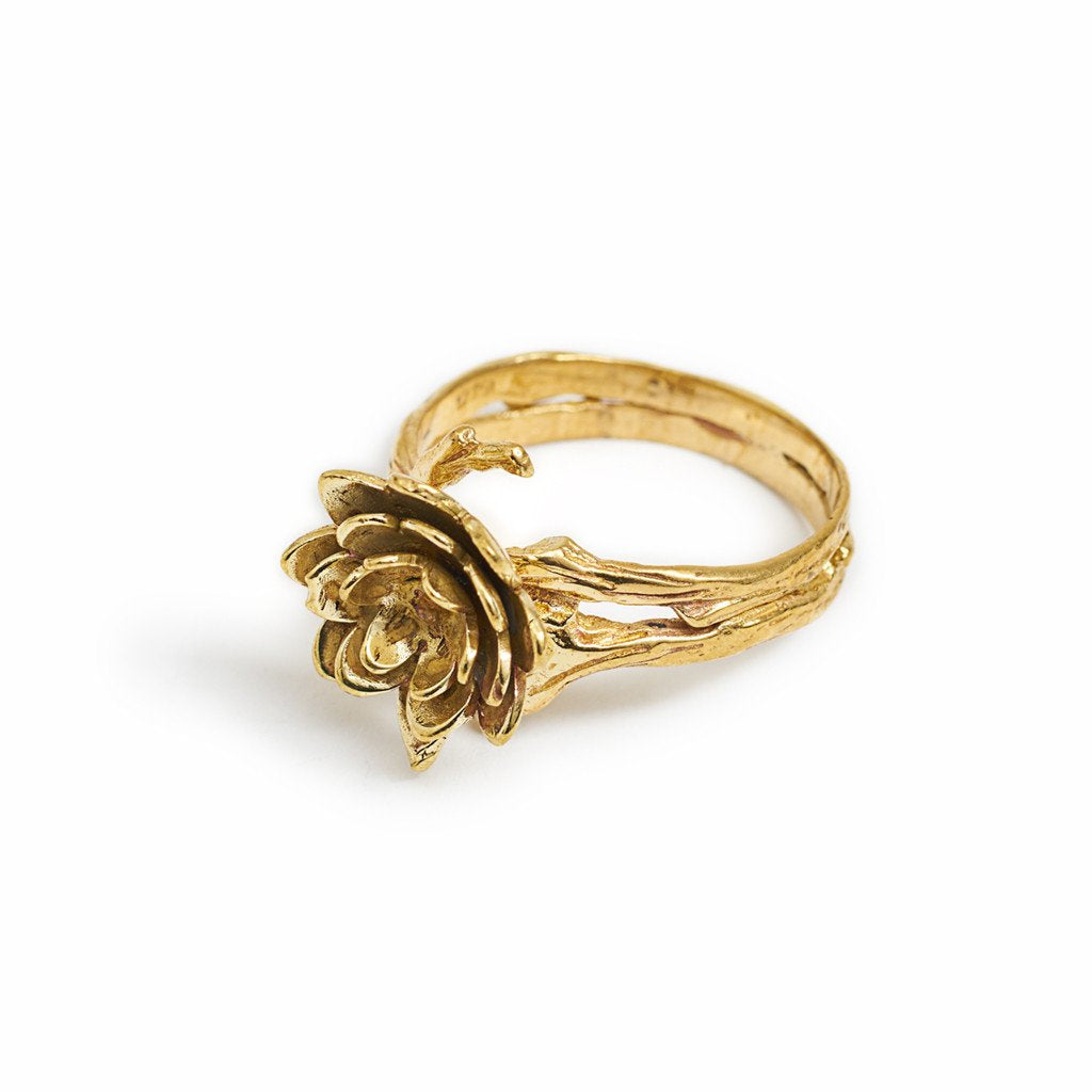 Ring Lotus Flower Dot Gold