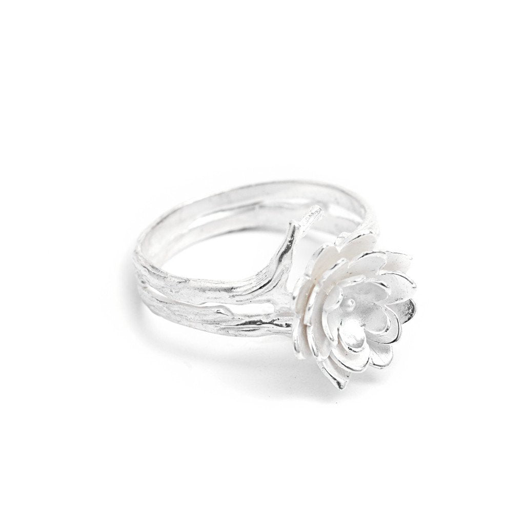 Ring Lotus Flower Dot Silver