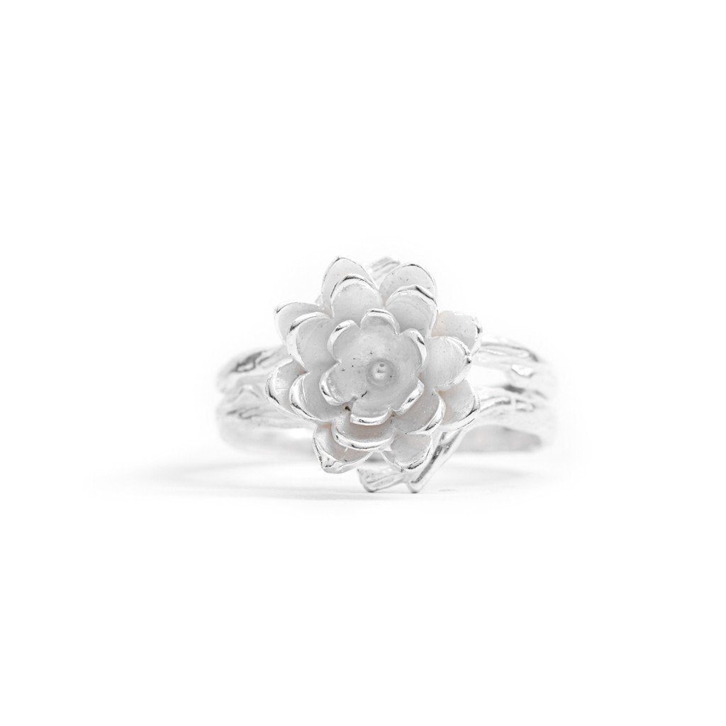 Ring Lotus Flower Dot Silver Front