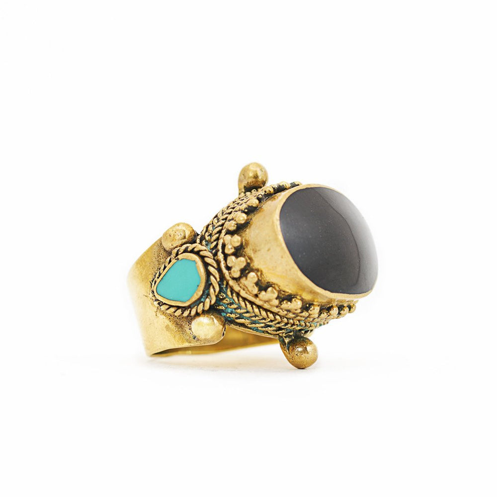 Ring Tibetan Brass black stone