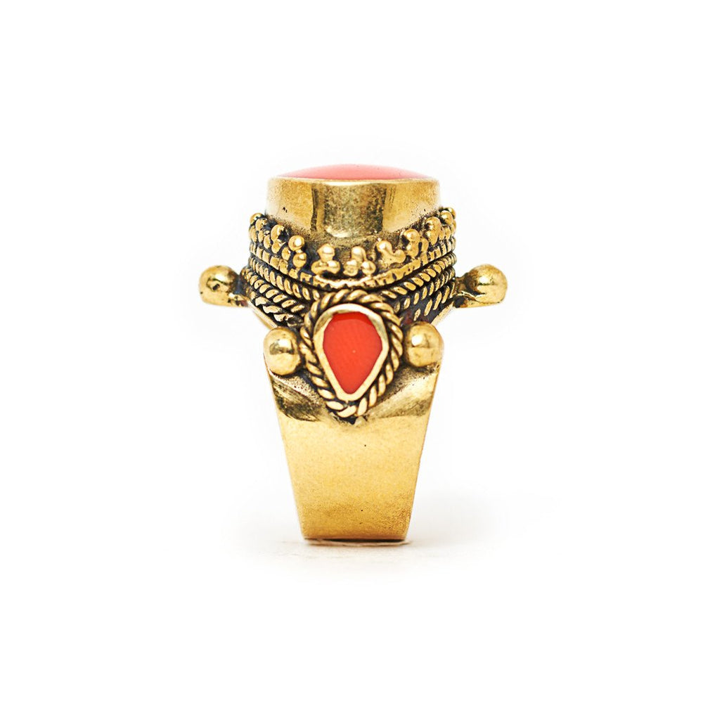 Load image into Gallery viewer, Ring Tibetan Brass orange stone Side
