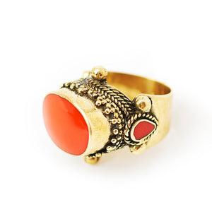 Load image into Gallery viewer, Ring Tibetan Brass orange stone