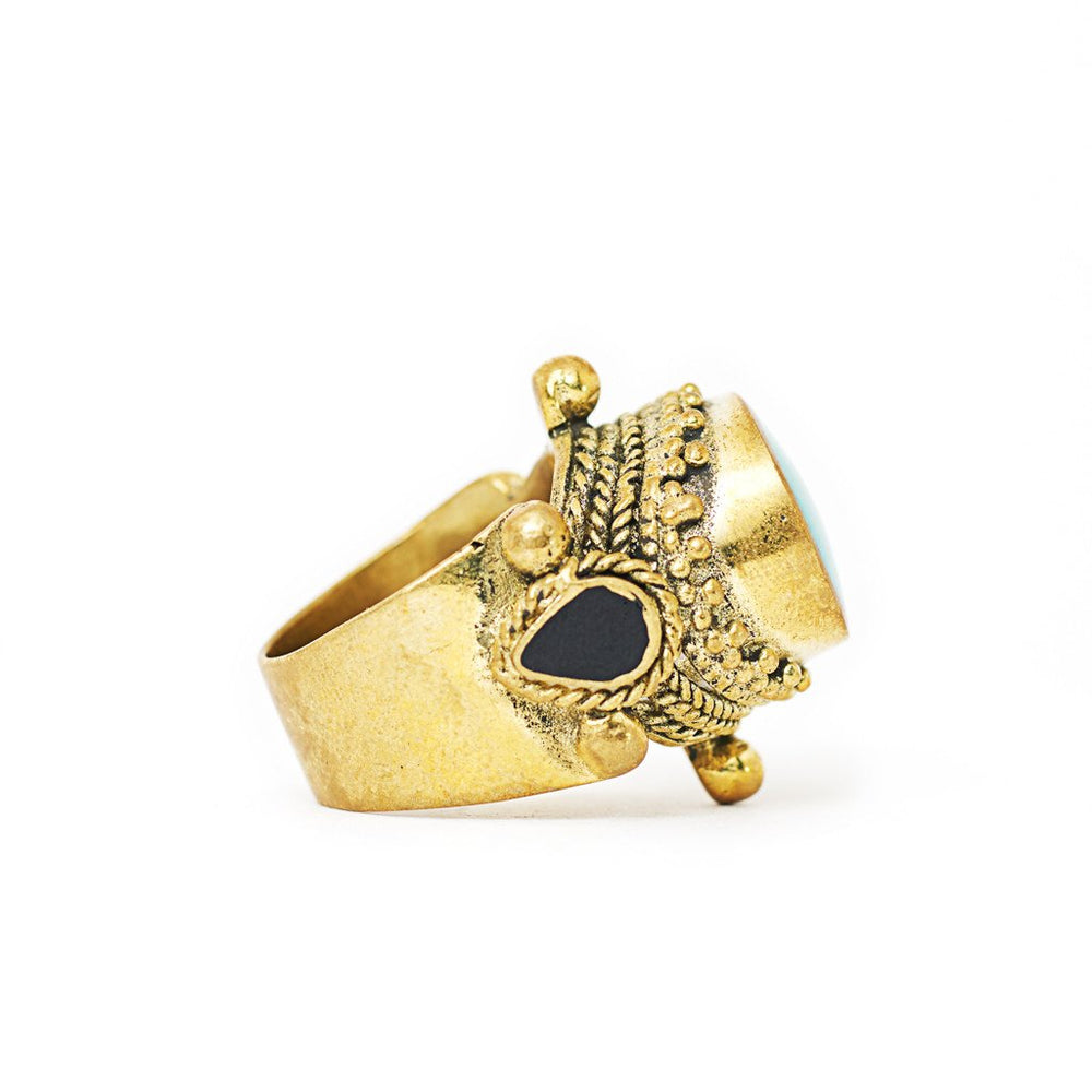 Load image into Gallery viewer, Ring Tibetan Brass Turquoise Side