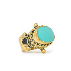 Load image into Gallery viewer, Ring Tibetan Brass Turquoise