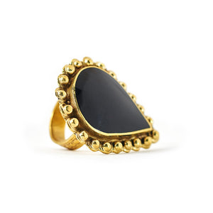 Load image into Gallery viewer, Ring Tibetan Drop Black