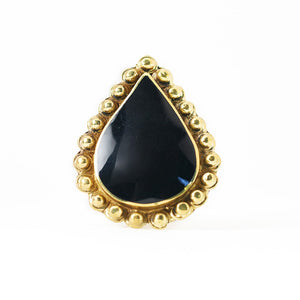 Load image into Gallery viewer, Ring Tibetan Drop black Front