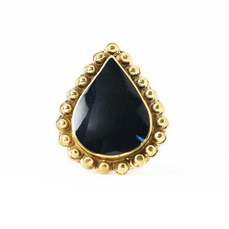 Ring Tibetan Drop black Front